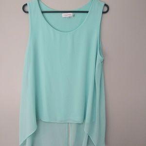 XL Calvin Klein aqua sheer overlay sleeveless top